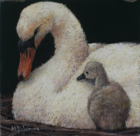 Prints of moths and baby swan painting by Mally Desomma